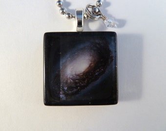 Black Eye Galaxy Glass Tile Photo Art Pendant