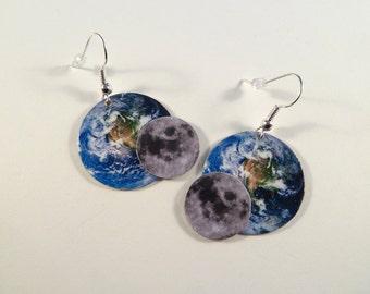 The Earth and Moon Photo Art Metal Earrings
