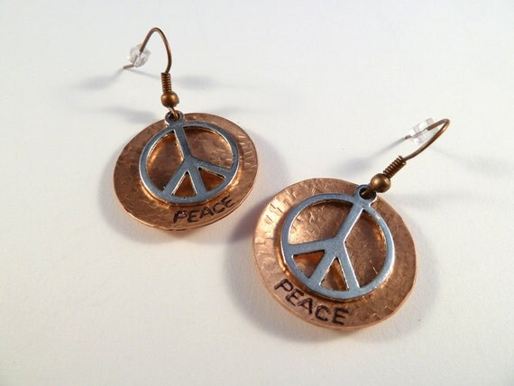 Peace Sign Copper Hand Stamped Art Earrings