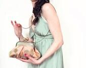 Aqua Floral Mimi Clutch Bag