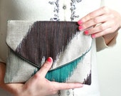 Turquoise zigzag Lolie envelope clutch