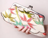 Bamboo leaves embroidery vintage kimono silk Lali clutch-RESERVED FOR YASMINKA
