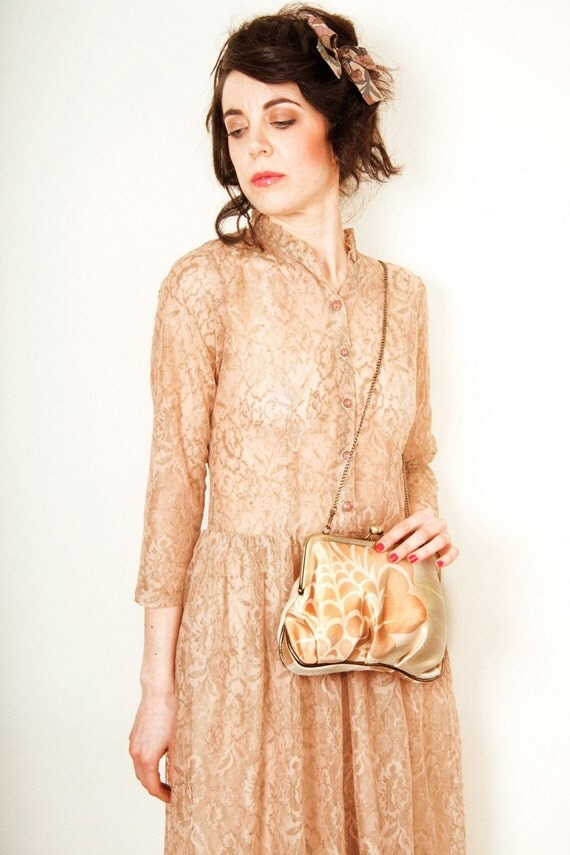 Golden flower on ivory Ambrosia---luxury silk and leather large clutch bag with chain---2 internal pockets