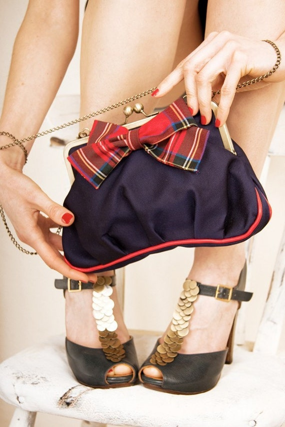 Tartan bow Ambrosia clutch bag with chain strap