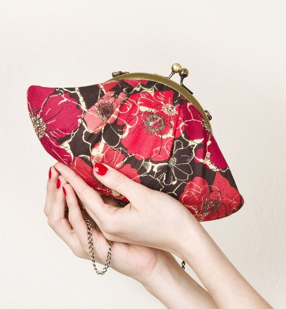 NEW-Red poppies Lizzy clutch bag