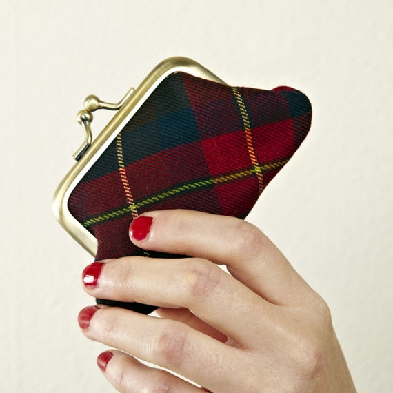 LAST ONE - Tartan Kitty mini purse