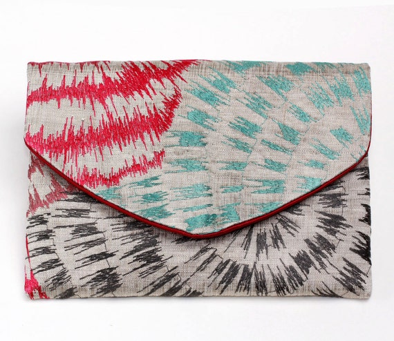 Multicolor fireworks Lolie envelope clutch - Luxurious iPad Mini case - Quality fabric - Made in France