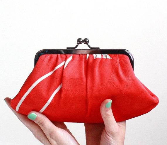 LAST ONE - Bold red vintage kimono Fifi clutch-OOAK