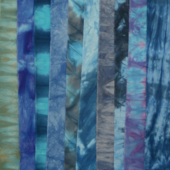 Hand Dyed Fabric BLUES Stash Pack - 10 Fat Eighths