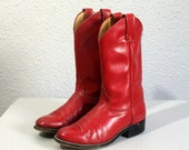 size 6.5 vintage BRIGHT RED justin western boots 37