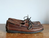 SALE // vintage 1980s mens topsiders  // size 8.5 brown leather oxford deck shoes 42