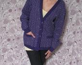 Lilli (Purple and White Cardigan Sweater)