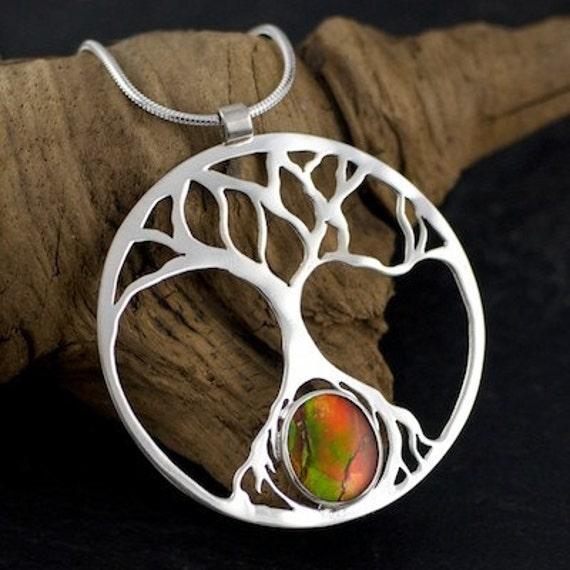 Tree of Life Pendant with Ammolite