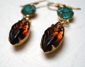 Earrings Vintage Drops Aquamarine Smokey Topaz Leaves