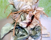 Hand dyed organic cotton shoulder WRAP / COLLAR in muted hues of ivory, green and champagn