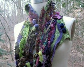 Green purple pixie SCARF/ NECK WARMER/ Wrap with  fringes, flowers and texture