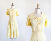 1940s Dress // Yellow // Medium