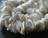 1/4 Strand Creamy White Keshi Pearls 8mm - 12mm