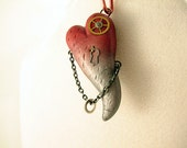 Steampunk polymer clay heart pendant copper silver