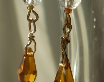 Small faceted amber teardrops