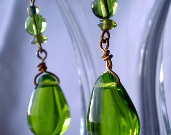 Apple green and gold teardrops