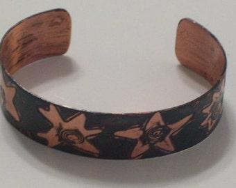 Vintage Enamel Copper Modernist STARS Cuff Bracelet