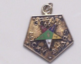 SALE Vintage Grand 66 Lucky Stars Enamel Vermeil Gold on Sterling Charm Pendant