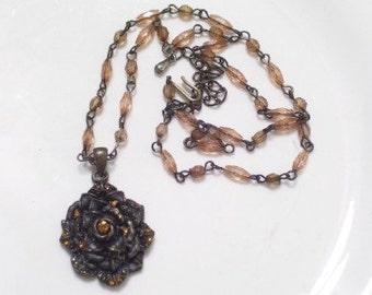 Vintage Victorian Style Brass Topaz Rhinestone ROSE Pendant Bead Necklace