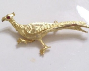 Vintage Goldtone Metal Crystal PHEASANT Pin Brooch