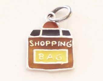 Vintage Sterling Silver Enamel Shopping Bag Charm