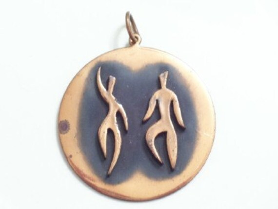 Vintage REBAJES Copper Modernist DANCERS Huge Medallion Pendant