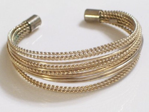 CLEARANCE Vintage Goldtone Metal Multi Strand Twist Wire Cuff Bracelet