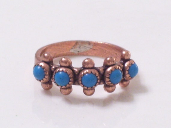 Vintage Copper Turquoise Southwestern Tribal Petit Point Ring