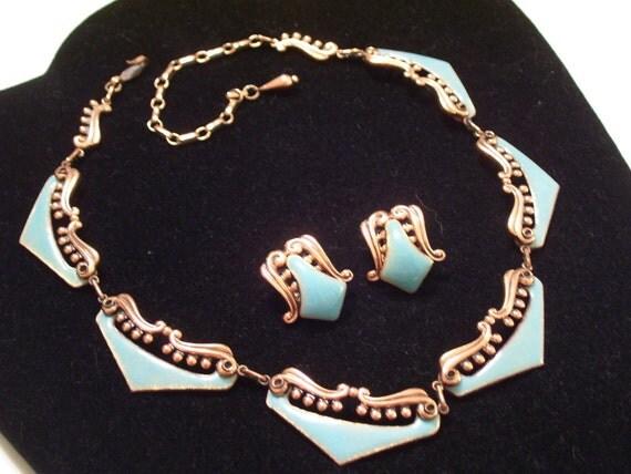 Rare Vintage MATISSE Copper Aqua Enamel VENEZIA Necklace and Clip Earrings Set