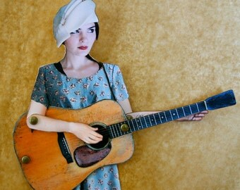 Old Timey Paper Doll Puppet - Emily the Guitar Player DIGITAL DOWNLOAD