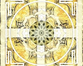 Silk Cloth - Lotus Mandala - NEW 100% silk crepe de chine