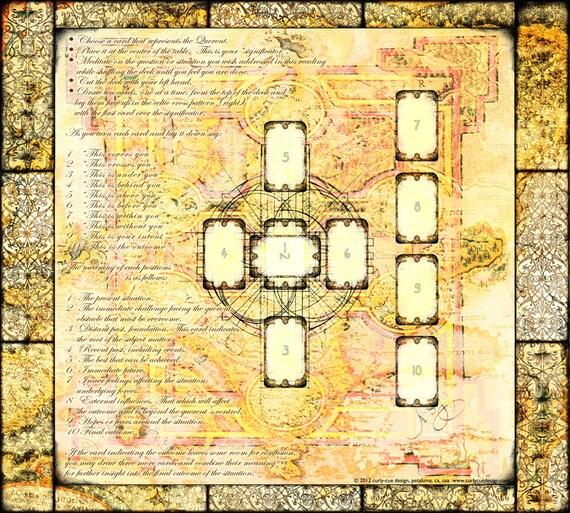 "Silk Cloth - Book of Kells Mandala With Tarot Spread 36x42"""
