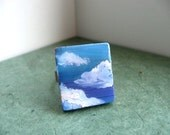 Clearance - Hand Painted Adjustable Ring - Open Air