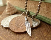 Silver Feather and Old Coins Coin Unisex Ball Chain Necklace - World Traveler