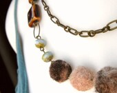 Clearance 40% Off  - Multi Colored Brass Layered Bib Necklace with Felted Beads - Not-So-Shabby-Chic