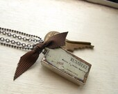 Keepsake Box Necklace with Key and Ribbon - Last One Left - - Best Kept Secret.