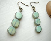 Stacked Dangle Earrings Mint Green Minimalist - The Submersible