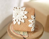 Cottage Chic Ring Natural Wood Lace Doily Adjustable Scrabble Tile  - Gingerbread Lace.