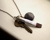 Paintbrush Pendant, Smooth Onyx, and Key Unisex Ball Chain Necklace - The Painter