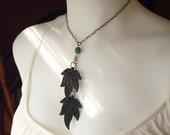 Bohemian Wood Leaf Lariat Necklace - Dark Maple.