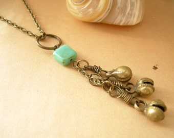 Boho Cluster Necklace Brass Bells with Square Glass Bead - Trio.