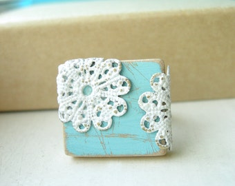 Powder Blue Filigree Ring Cottage Chic Adjustable - Blue Lace