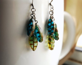 Boho Chic Dangle Earrings Teal and Green Etched Czech Glass  - Rainforest