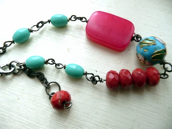 Cloisonne and Pink Jade Bracelet with Czech Glass - The Kimono