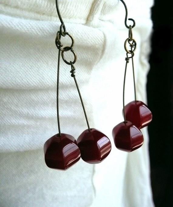 Dark Cherry Carnelian Dangle Earrings - Dark Cherries